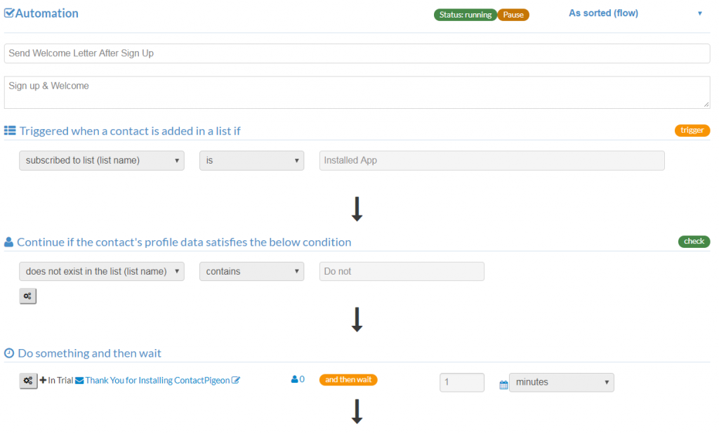 ContactPigeon's automation workflow