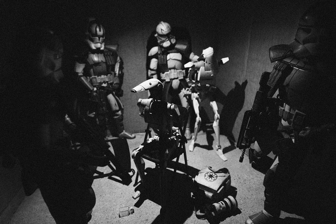 """""""Advanced Recon Commandos herd droids into a compound and await extraction after raiding a suspected Separatist intelligence cell in Mos Eisley, Tatooine."""" Matthew Callahan photo"""