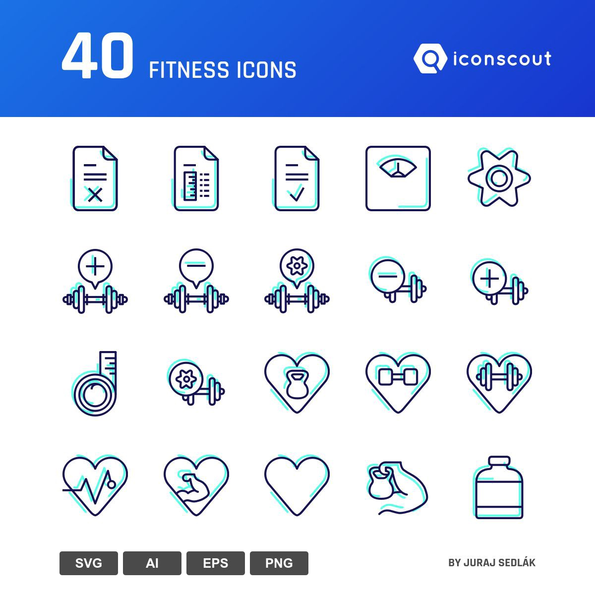 Fitness icons by Juraj Sedlák