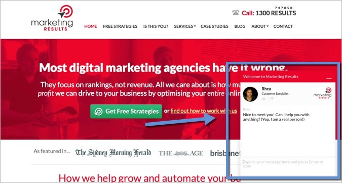 Marketing Results lead management live chat example