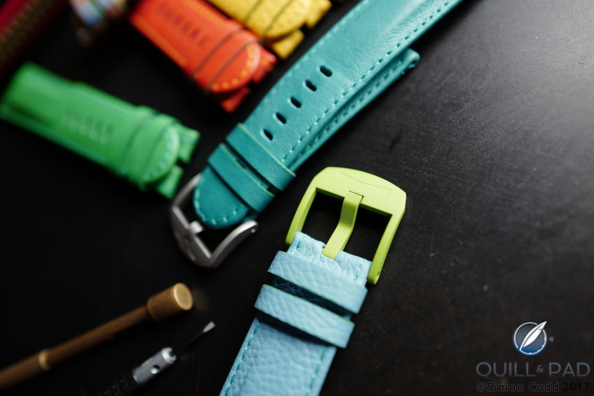 Schofield + Cudd offers colored buckles
