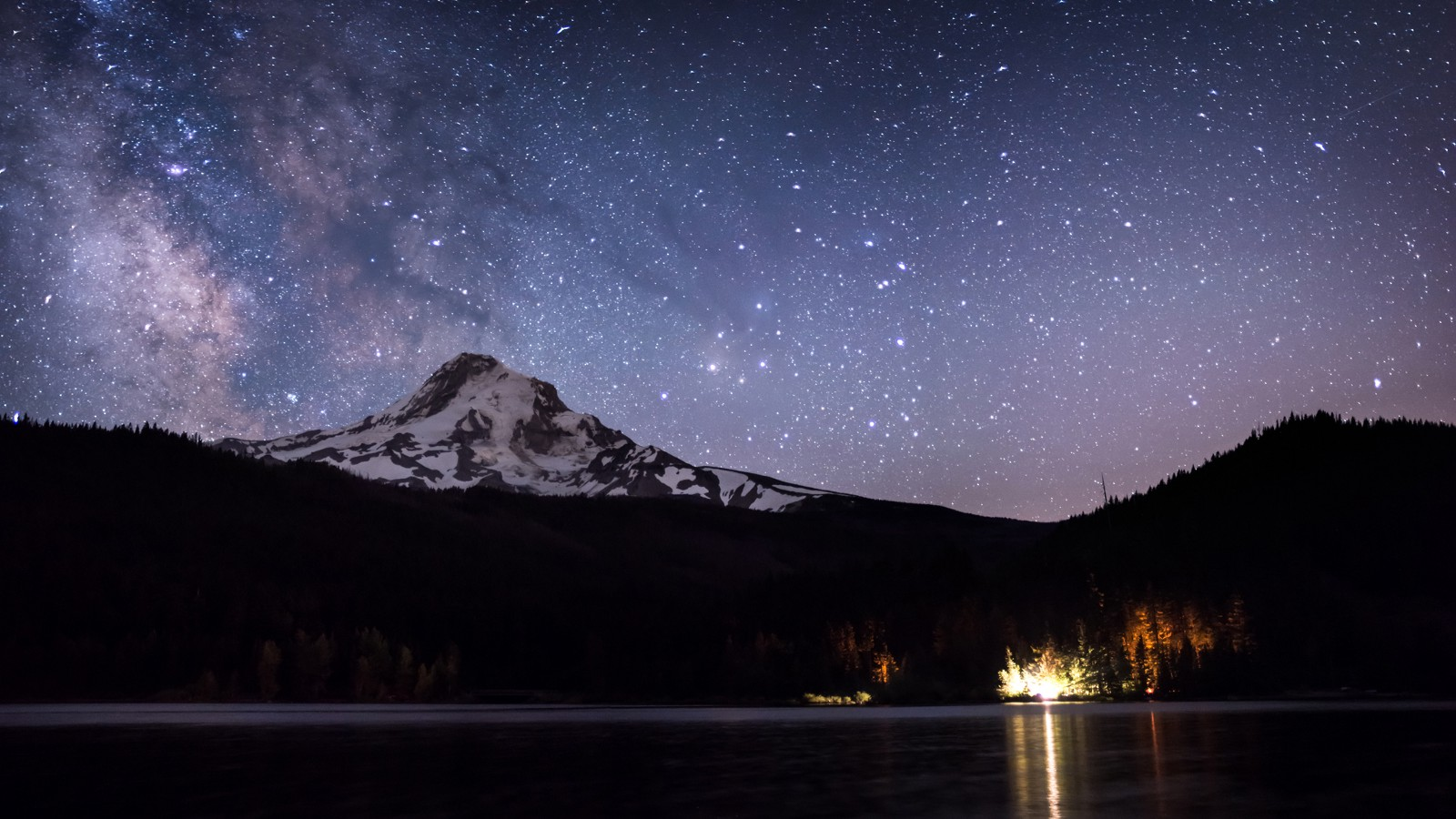 The Milky Way over Mt. Hood, from Laurance Lake near Parkdale, Oregon