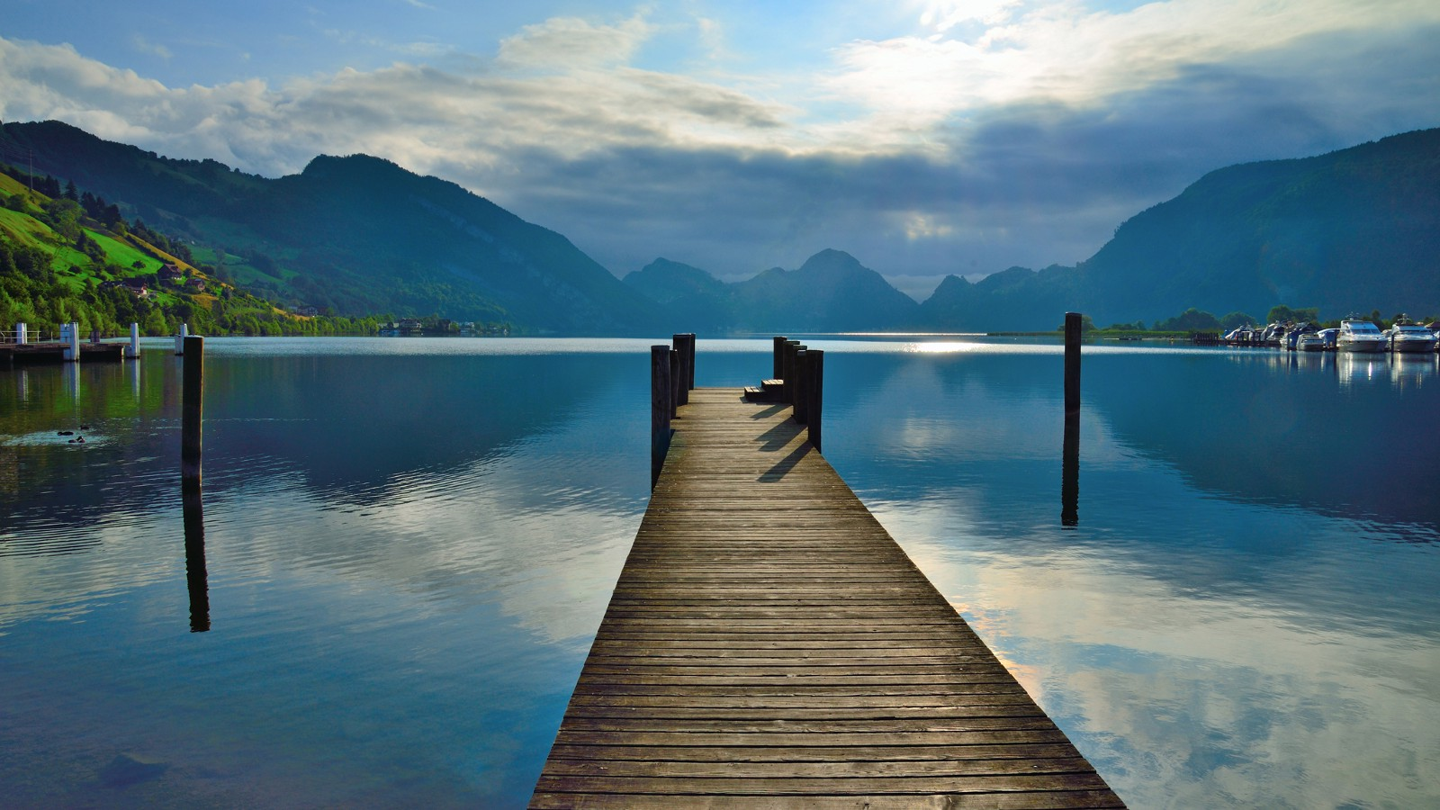 Wooden jetty at Lake of Lucerne, Switzerland