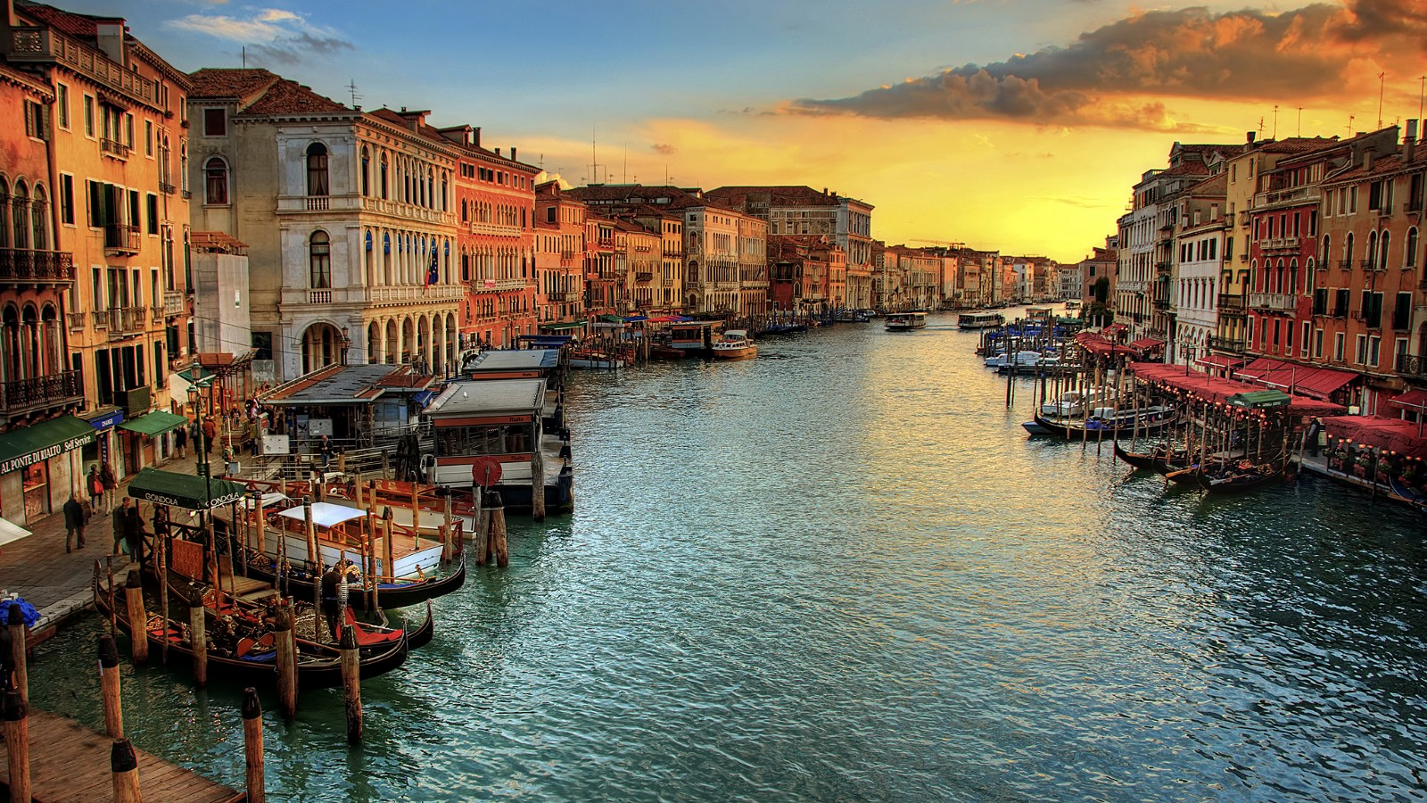From the Rialto Bridge, looking down the Grand Canal in Venice, Italy