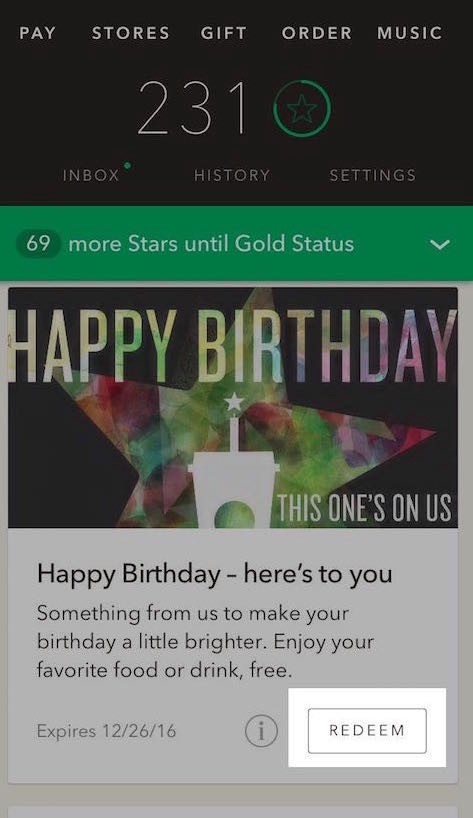 Great Job Starbucks I felt ripped off when trying to redeem my free