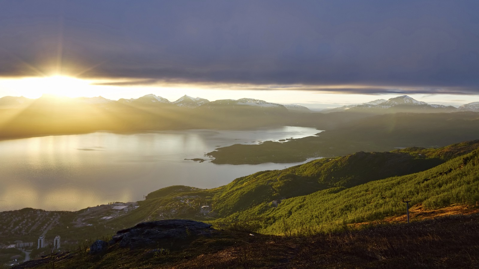 Midnight Sun over Ofotfjord, Narvik, Norway