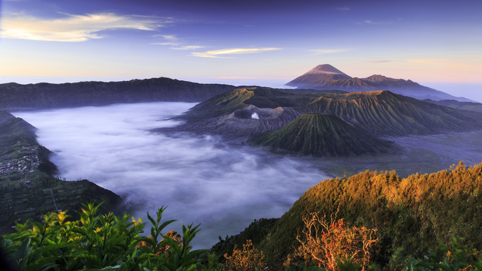 Sunrise in Bromo-Tengger-Semeru National Park on the island of Java in Indonesia