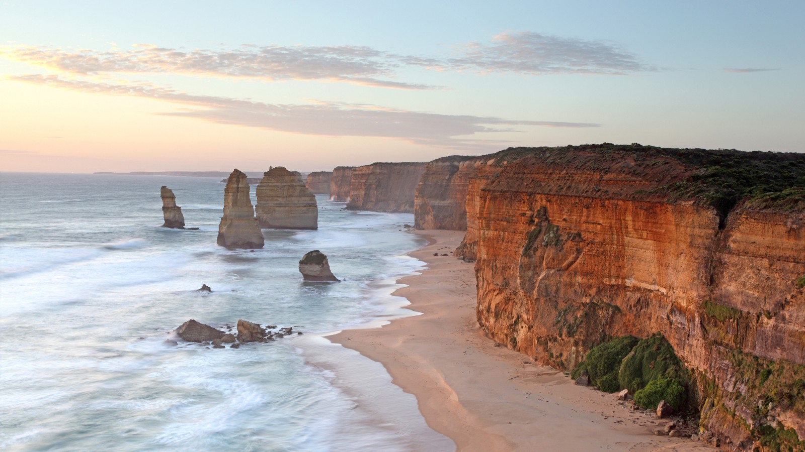 The Twelve Apostles limestone stacks, by the Great Ocean Road in Victoria, Australia