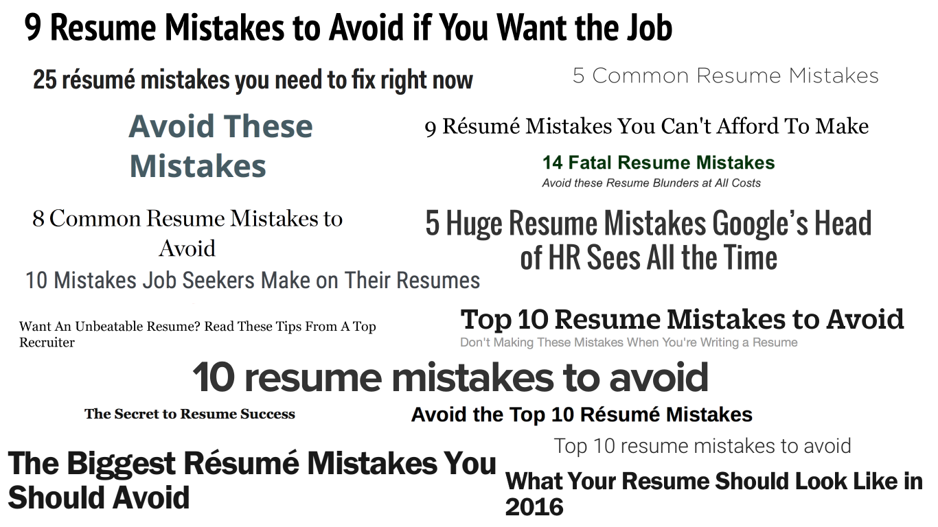 Top 10 Resume Mistakes staruptalentcom
