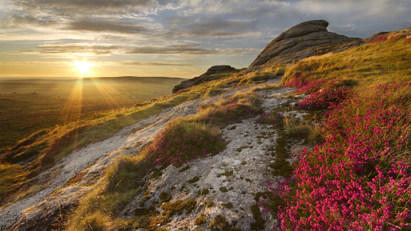 Sunset near Haytor, Dartmoor National Park, Devon, UK