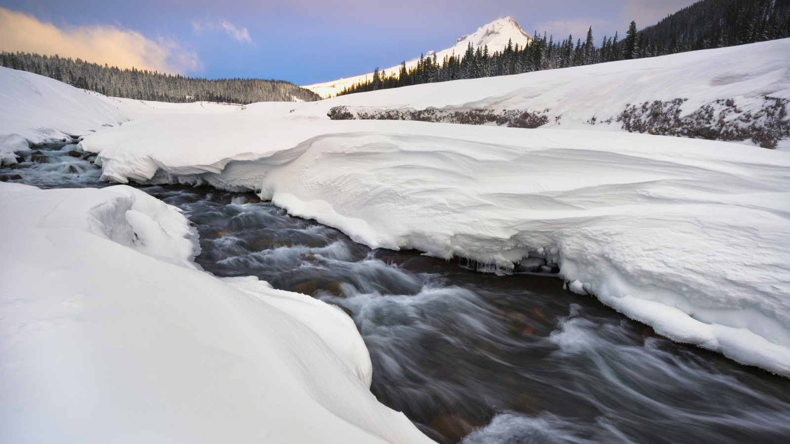 Winter stream on White River, Oregon