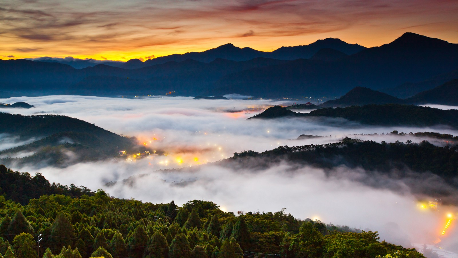 Sunrise over Yuchi Township, Taiwan