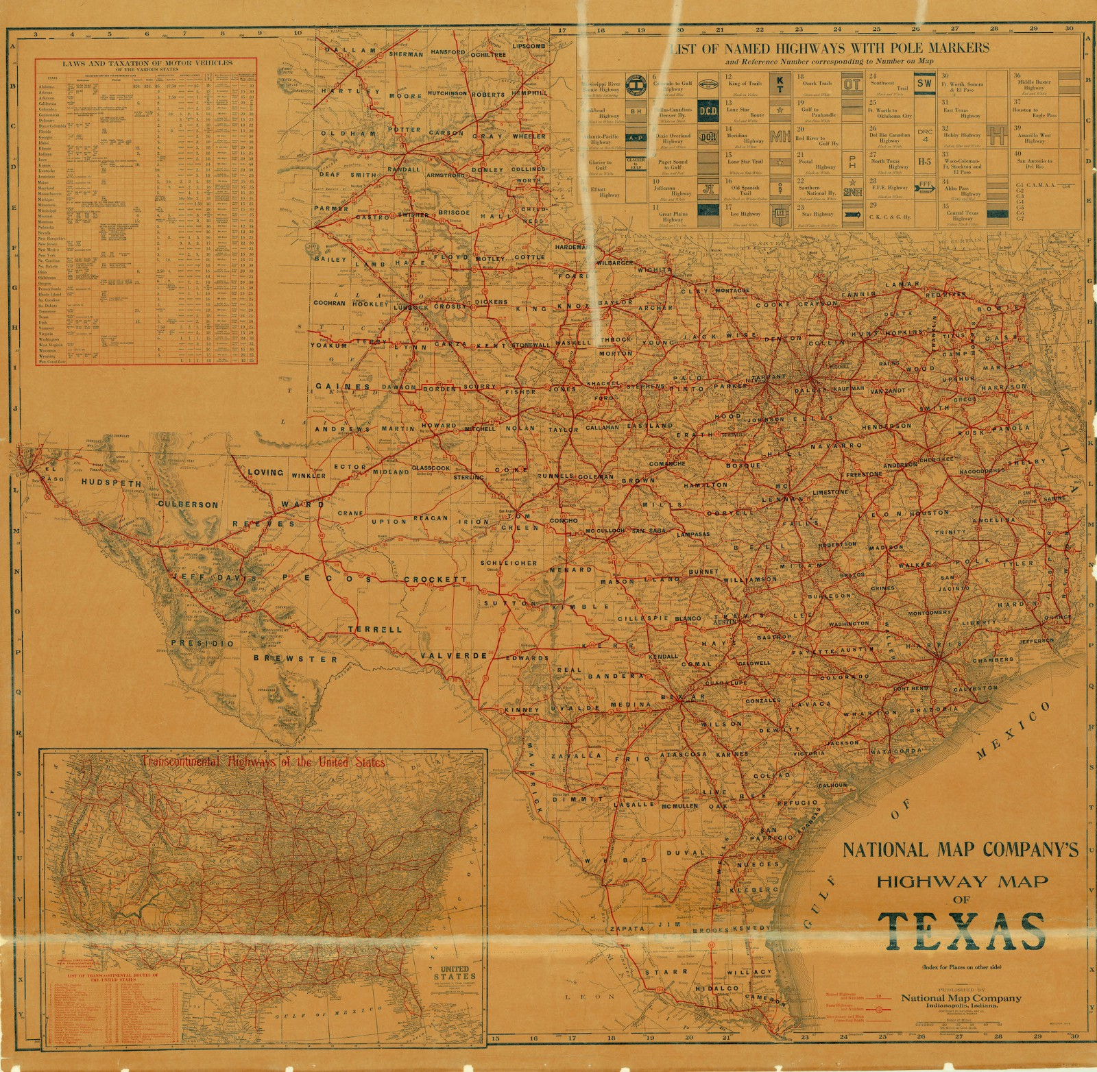National Map Companys Highway Map of Texas 1920 Save Texas