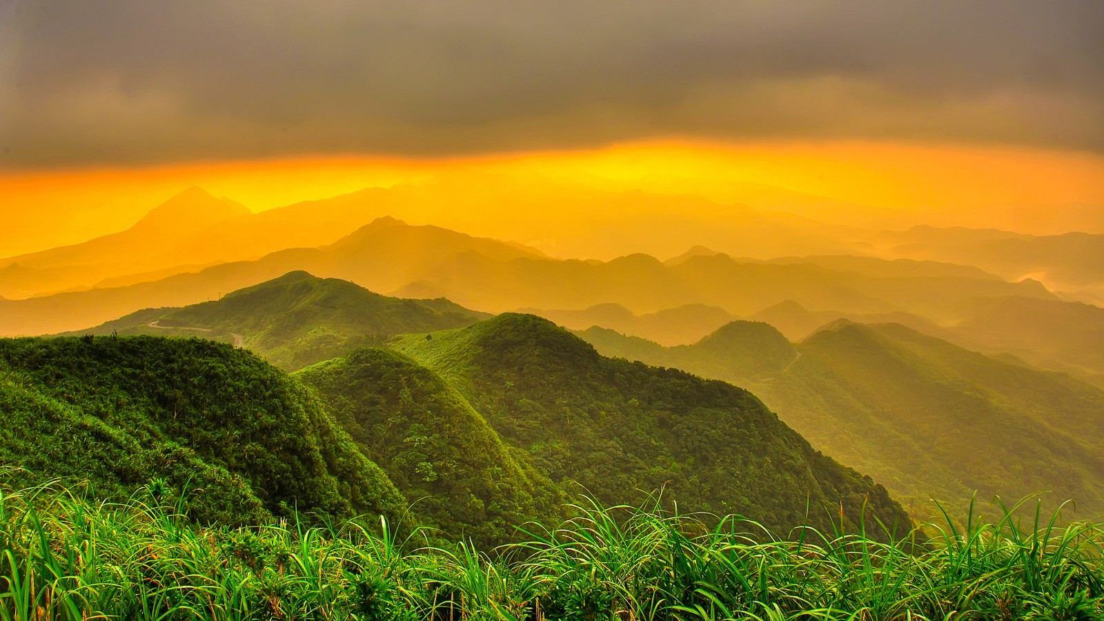 Rolling hills at sunset, Taiwan