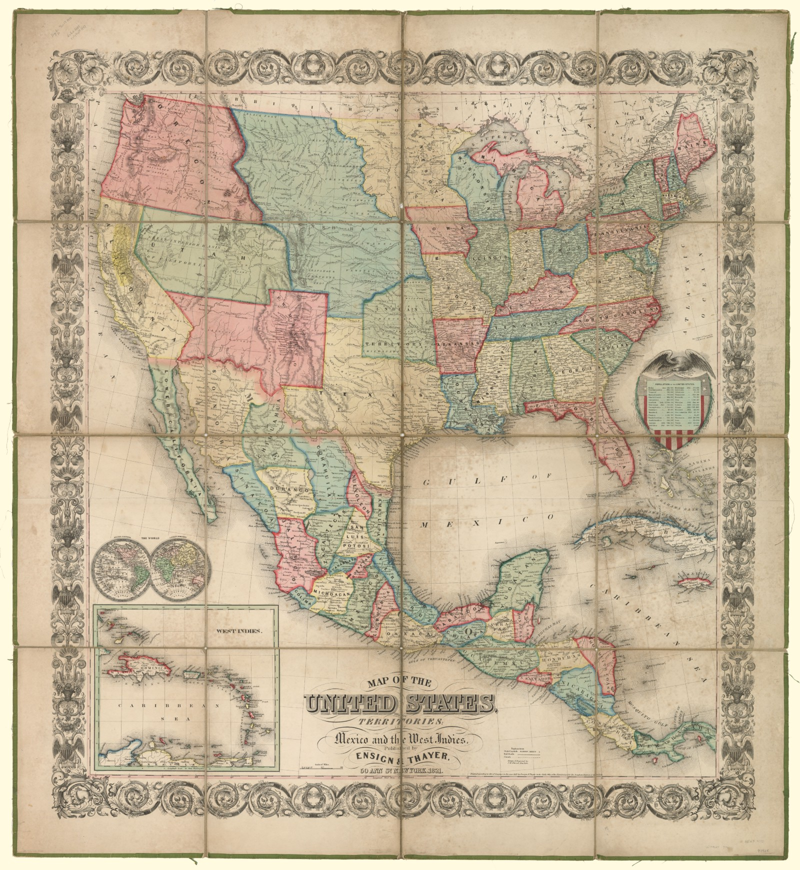 Map of the United States with its territories also Mexico and the