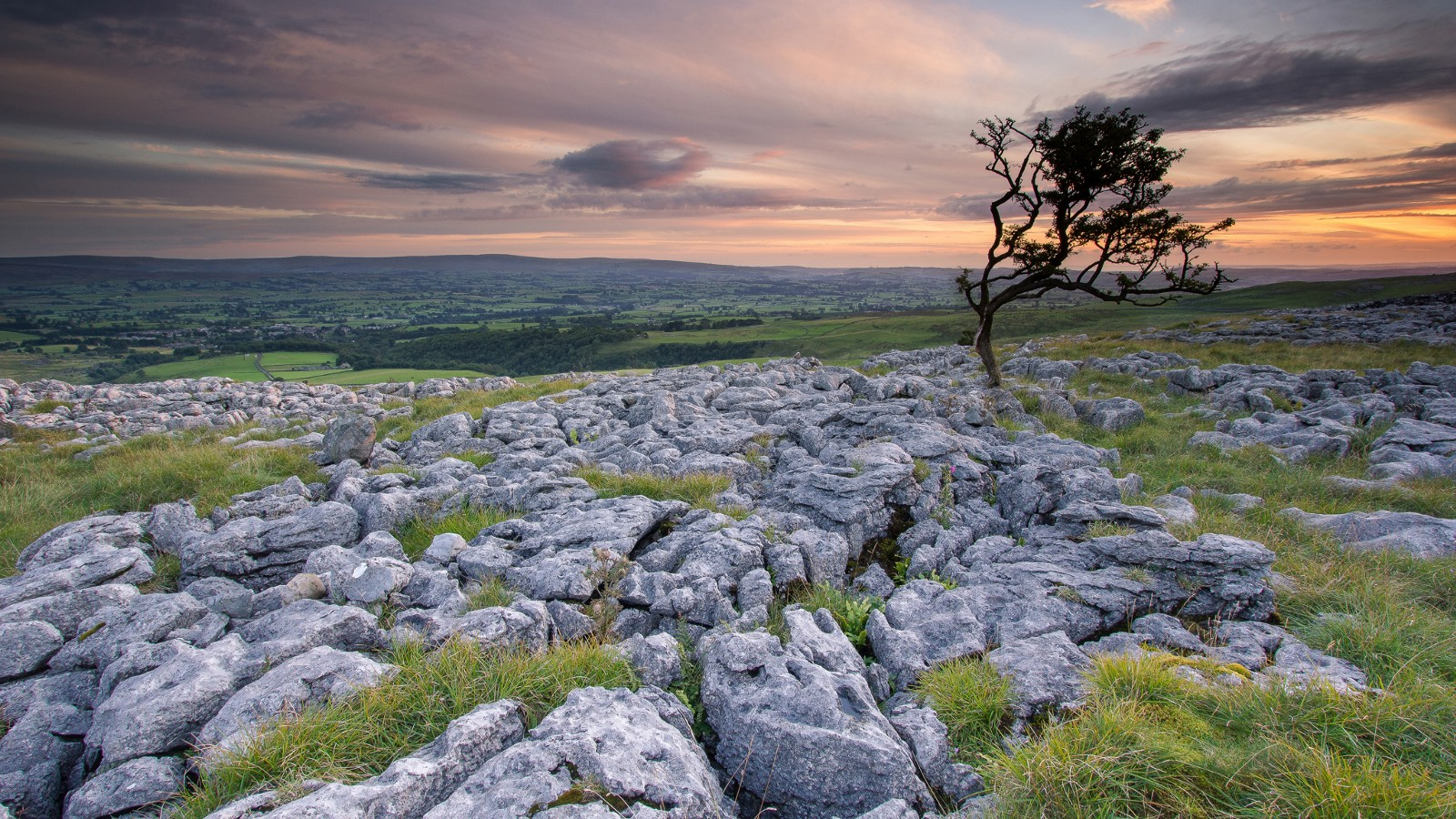 Sunset near limestone formations, UK