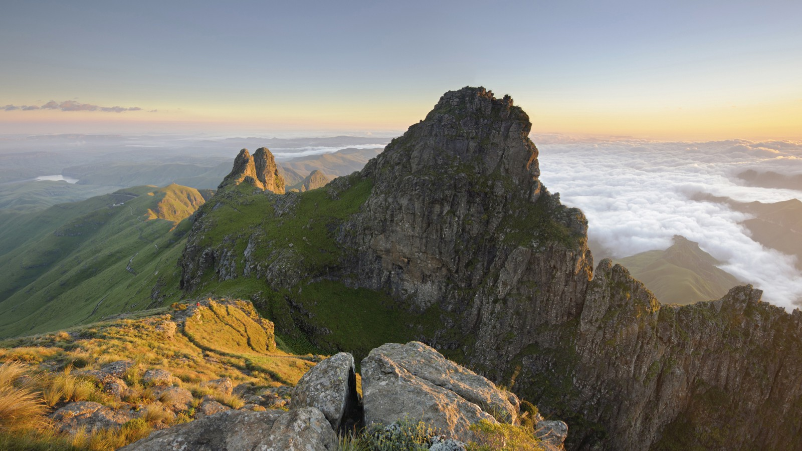 Panoramic view of a mountain peak in the Drakensberg, South Africa