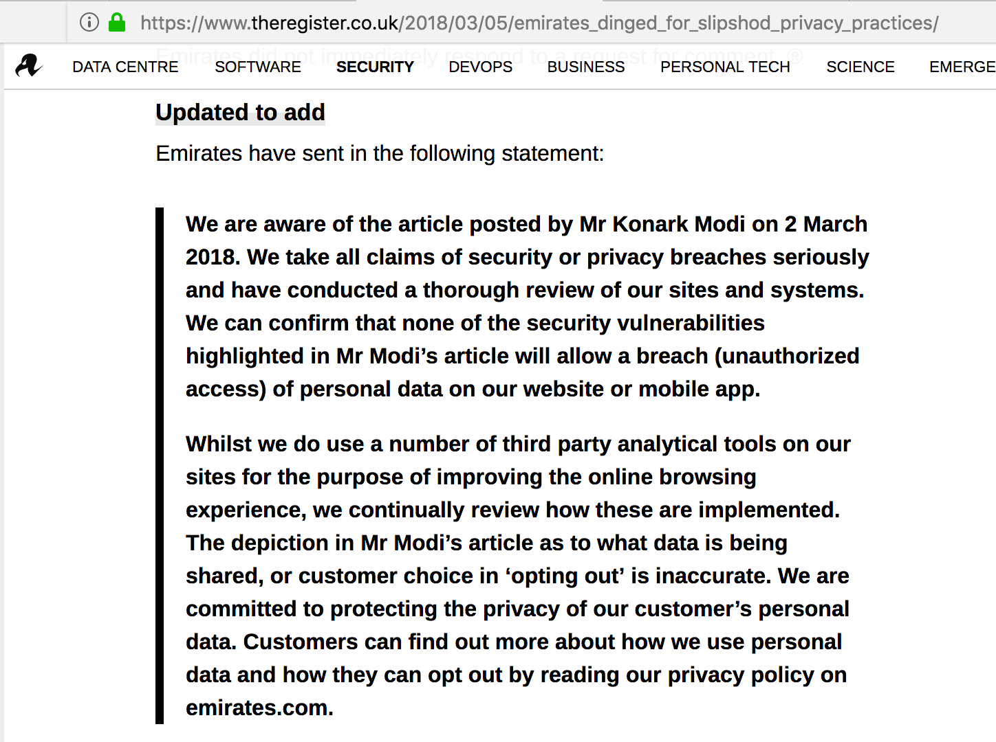 Airline websites don't care about your privacy follow-up: Emirates responds to my article with…