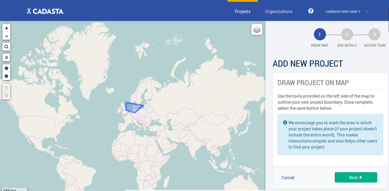 Drawing on Cadasta world map with Leaflet JS Library within a ...