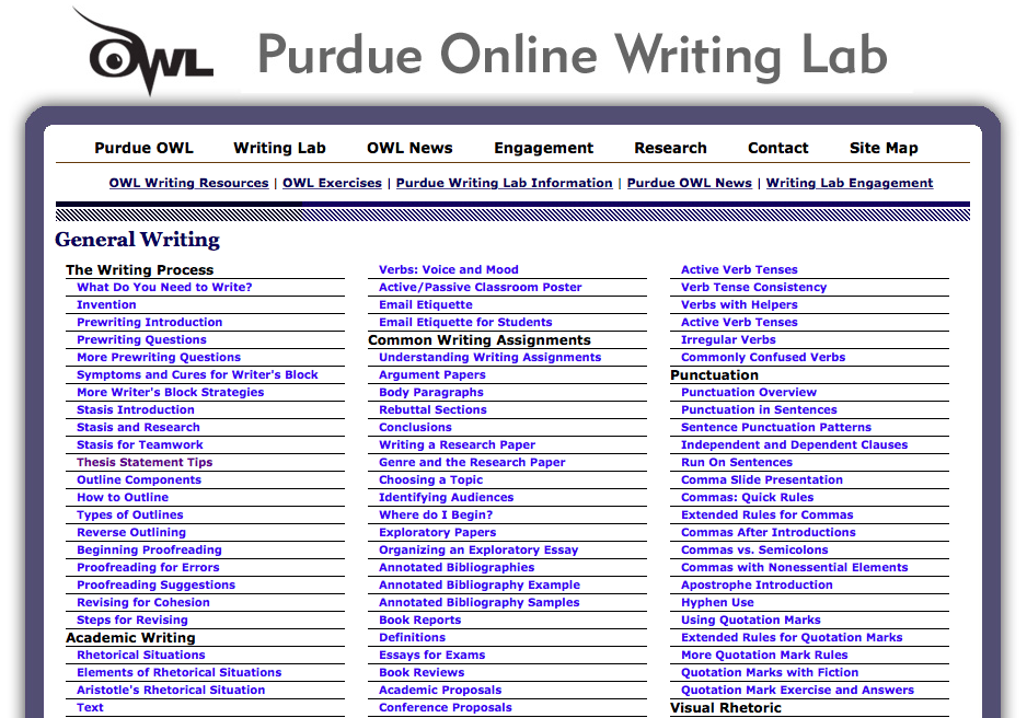 the purdue owl online writing lab Purdue university's online writing lab provides students with a guide to help them successfully complete writing assignments not only in writing classes, but also in stem coursework and multimedia presentations.