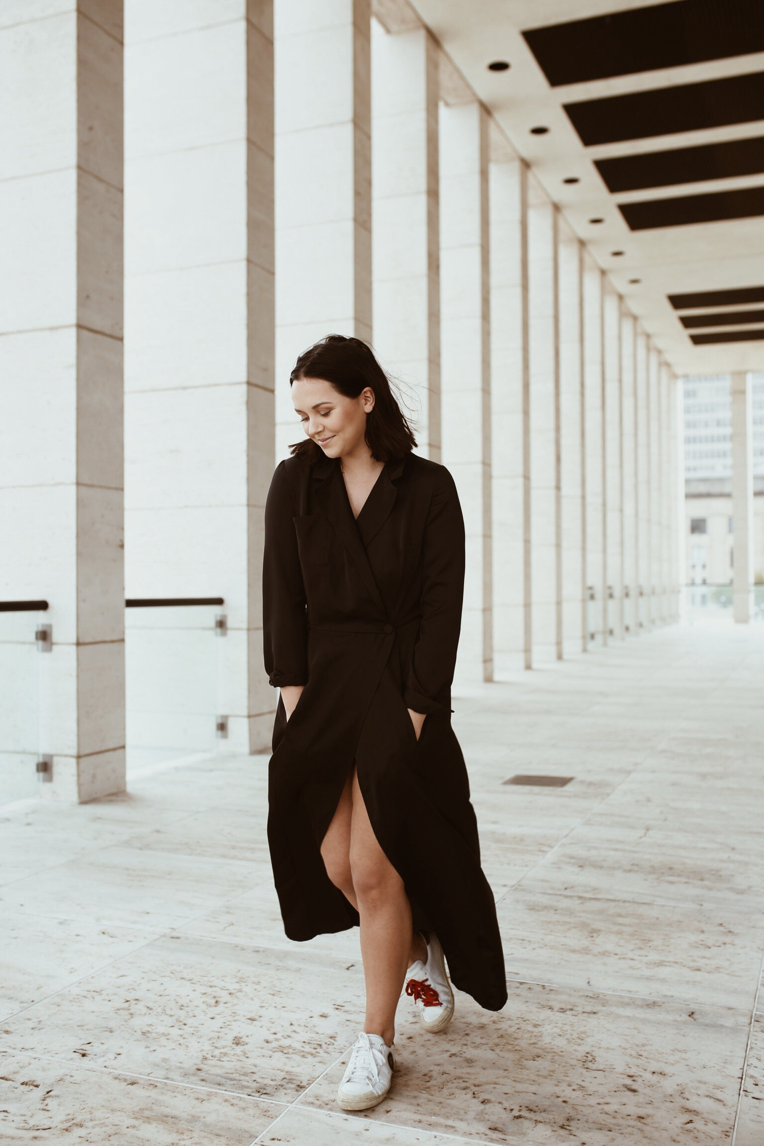 Alison K. Saylor wearing the black shirt dress by Bastet Noir