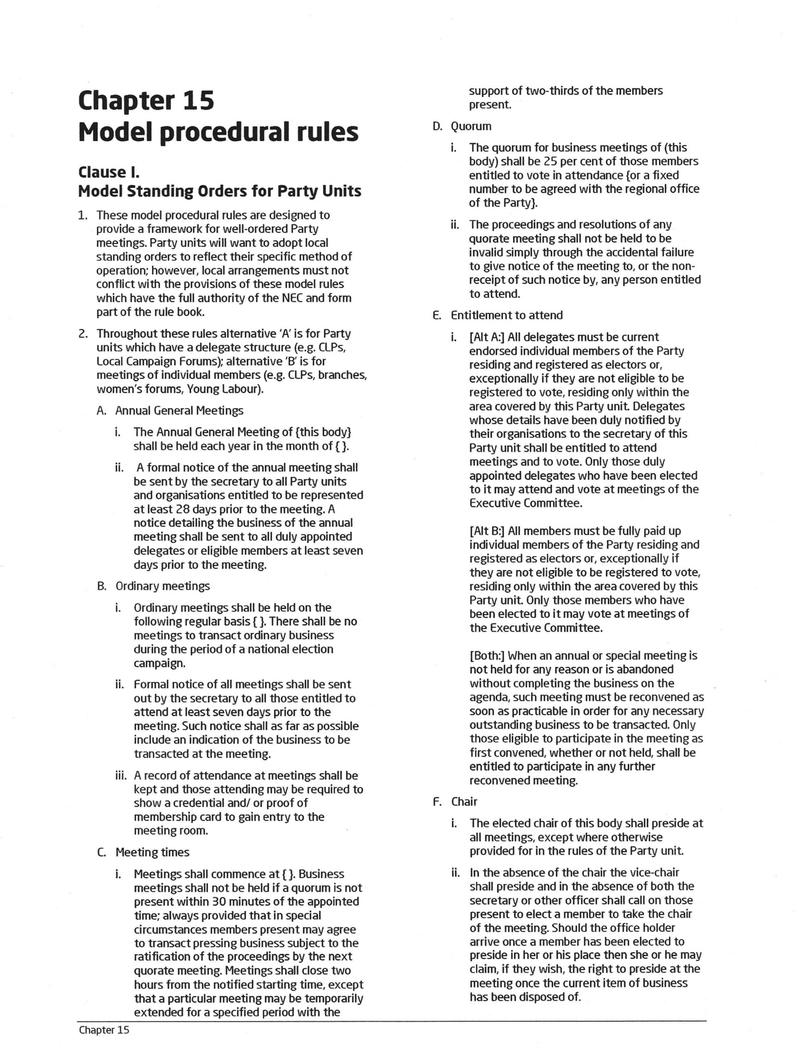 labour party rule book 2016 chapter 15 model procedural rules pp 5658