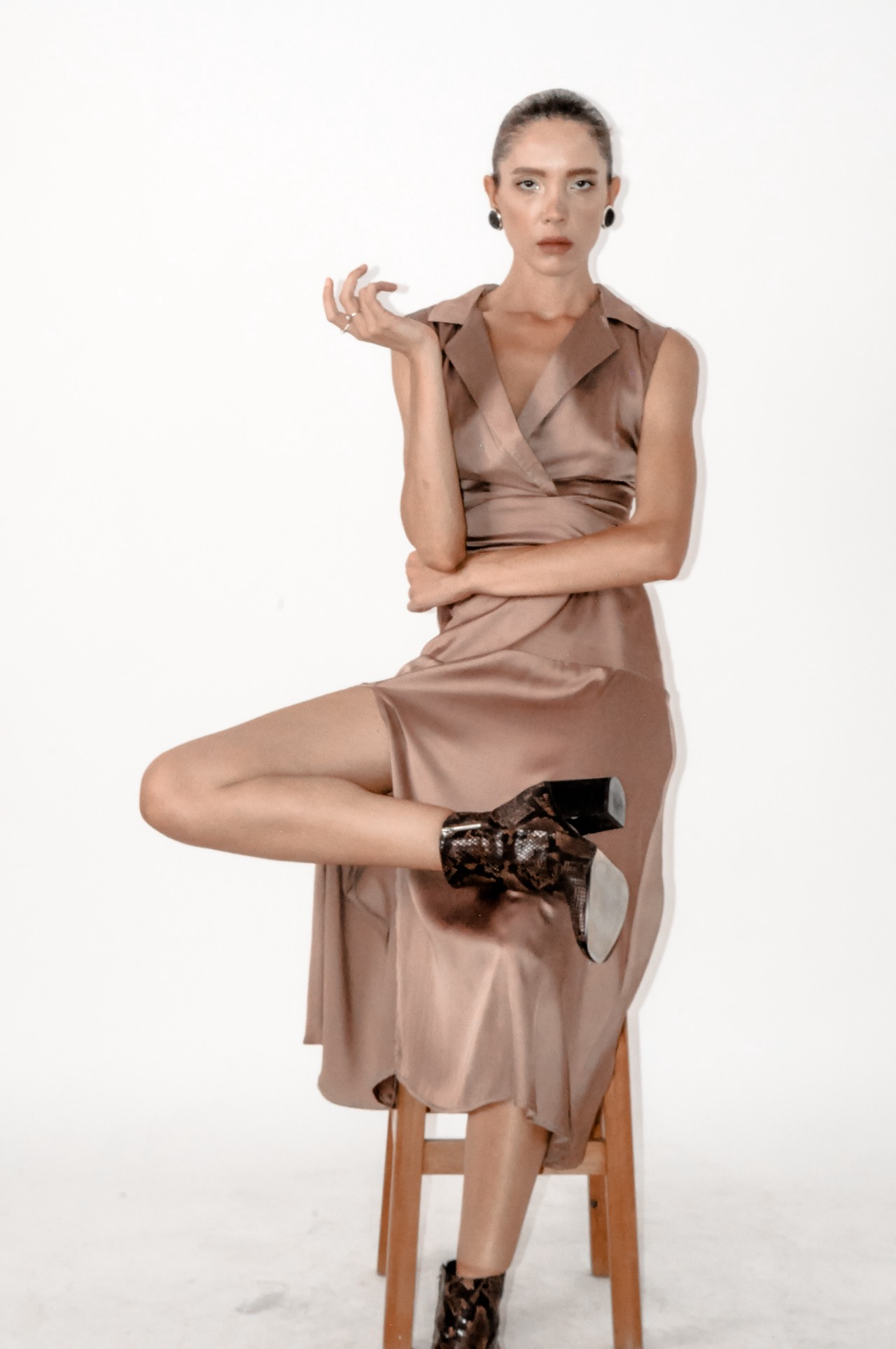 Brown sleeveless shirt dress with side slit by Bastet Noir