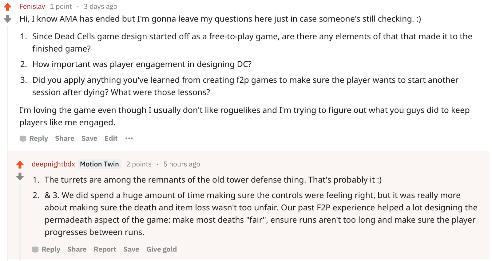 One of the creators on player engagement