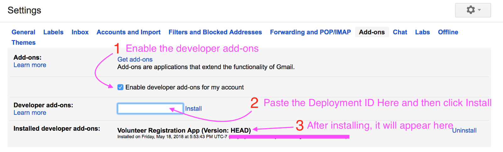how to open gmail add ons