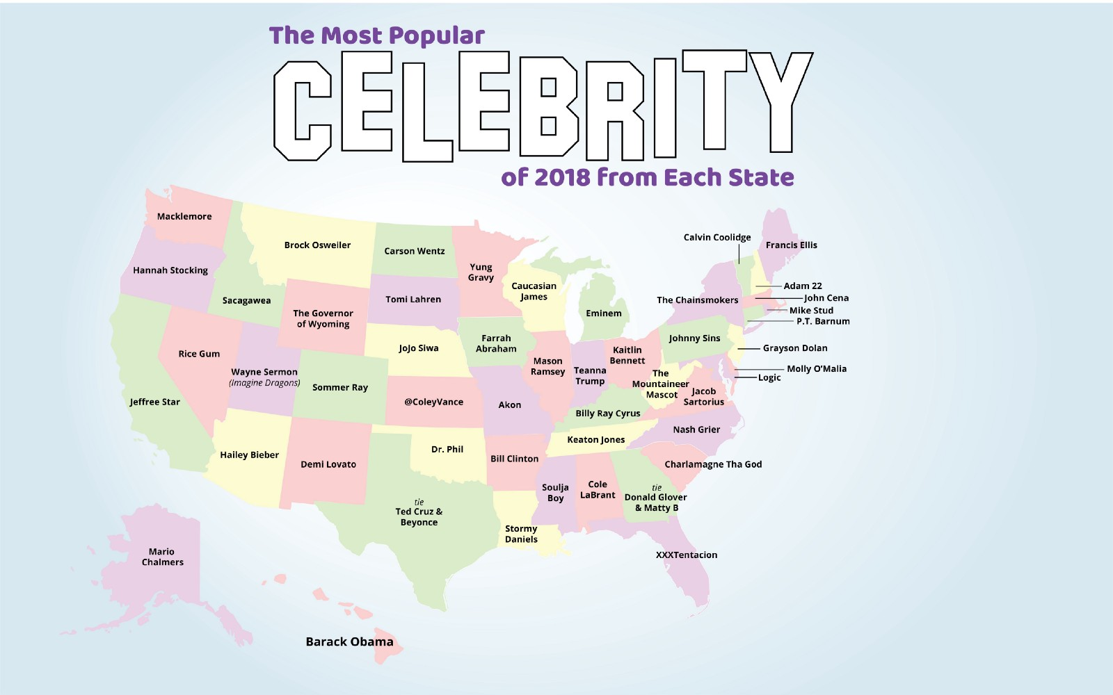 The Most Popular Celebrity of 2018 from Each State