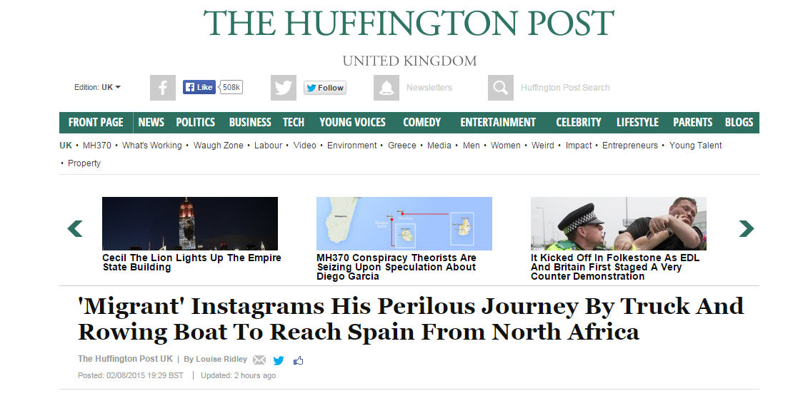 How a production company faked instagram migrant account the huffington posts story on the instagram account which treats it as legitimate the huffington post uk contacted abdou who said he was in the town of ccuart Gallery
