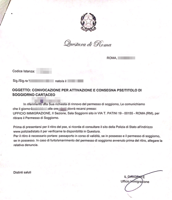 How to obtain Italian Permesso di soggiorno — permission for living