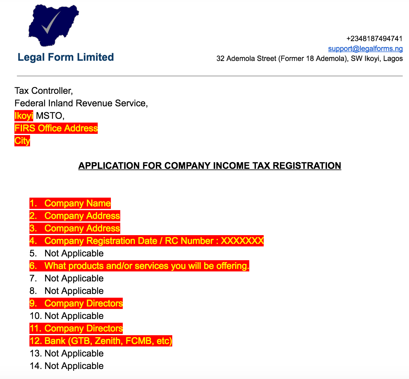 65698711f4 TIN Application Letter with FIRS Nigeria – Legal Forms – Medium