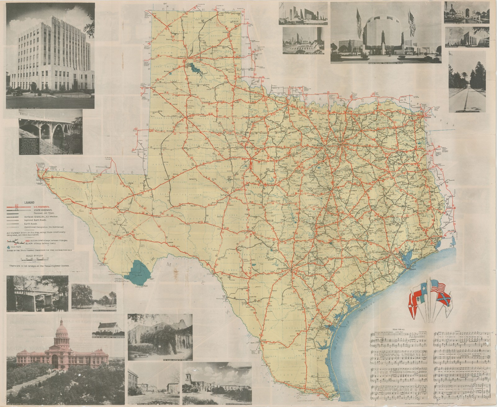 Interstate Map Of Texas.Official Map Of The Highway System Of Texas 1936 Save Texas