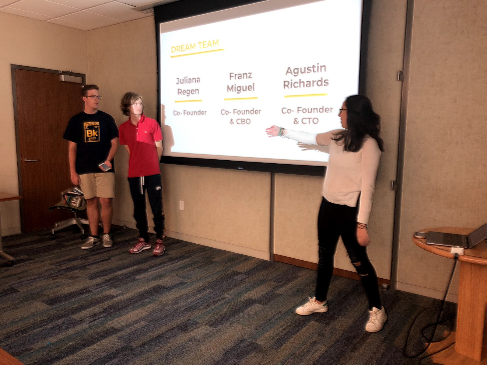 Summer '18 students pitching their project