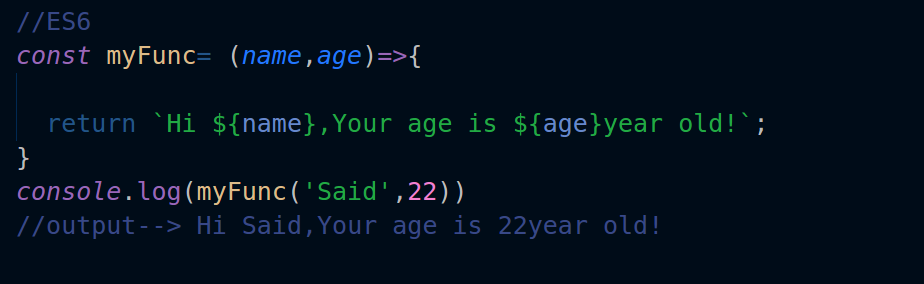 its a really huge difference between the old syntax and es6 when playing with strings the literal string in es6 looks more organized and well structured