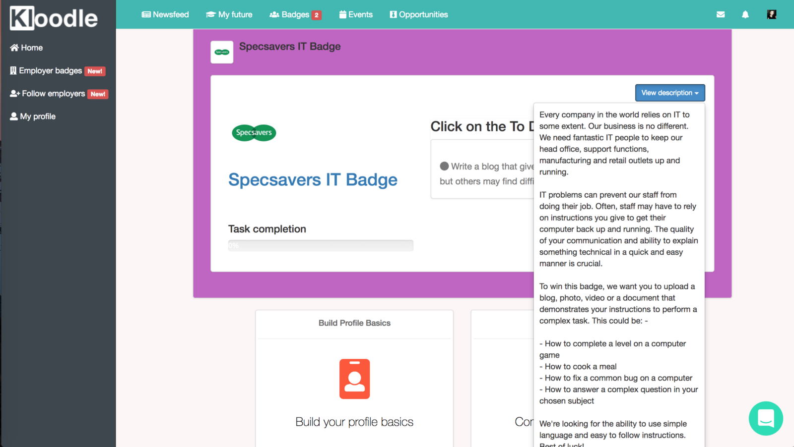 Employer badges: an example – Kloodle