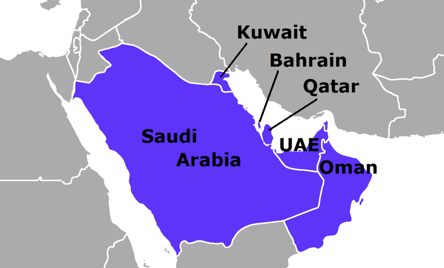 this picture shows the map of cooperation council for the arab states of the gulf gcc comprises of six nations saudi arabia qatar bahrain kuwait