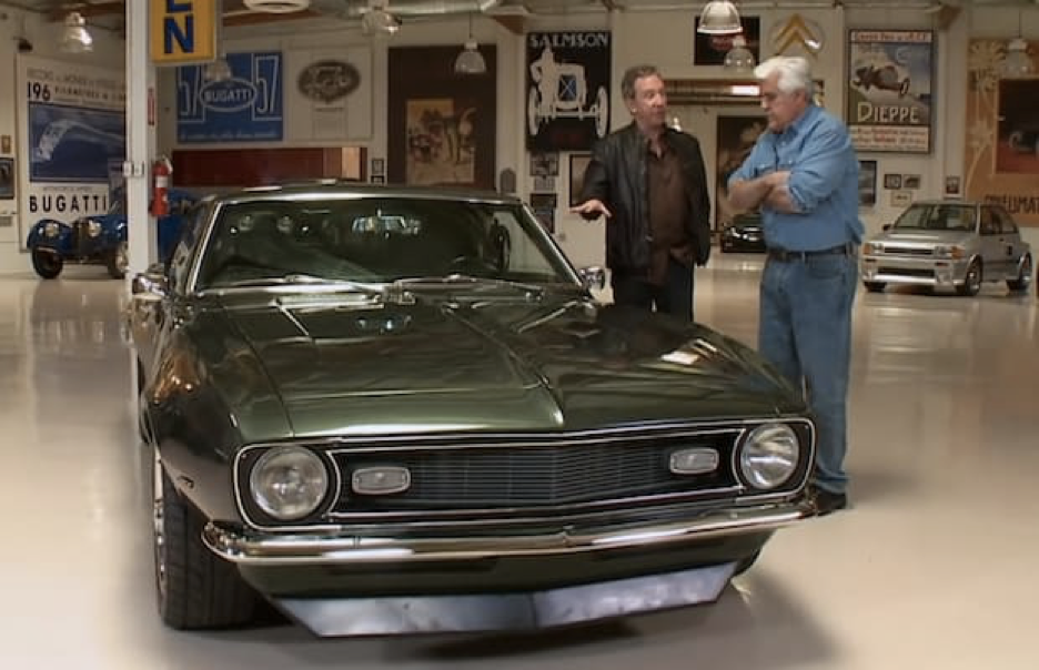 Unsurprisingly Car Guys Spend Their Time With Other Pictured Here Are Tim Allen And Jay Leno Standing Beside S 1968 Chevrolet Camaro