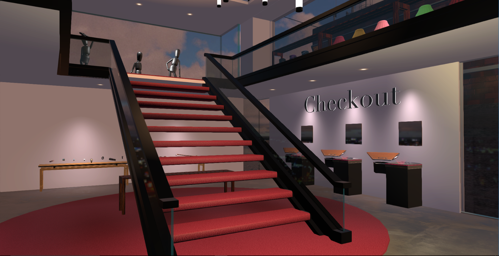Wearable watches and skirts line the edges of the A&J store with checkout stands along the wall in High Fidelity VR