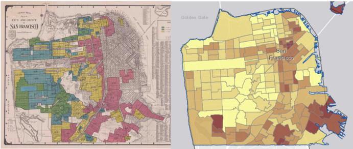 side-by-side images of redlining map and mental health map