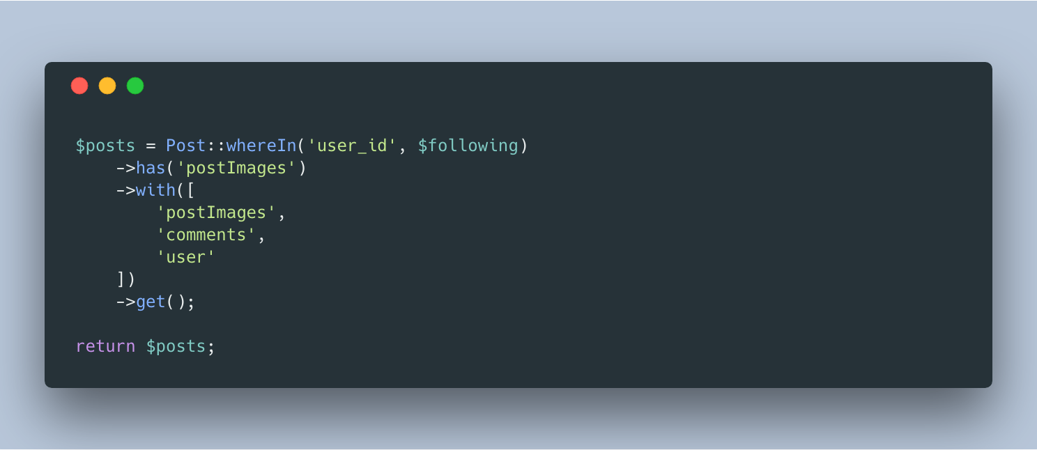 Code screenshot of only returning models if they have a particular relationship using has()