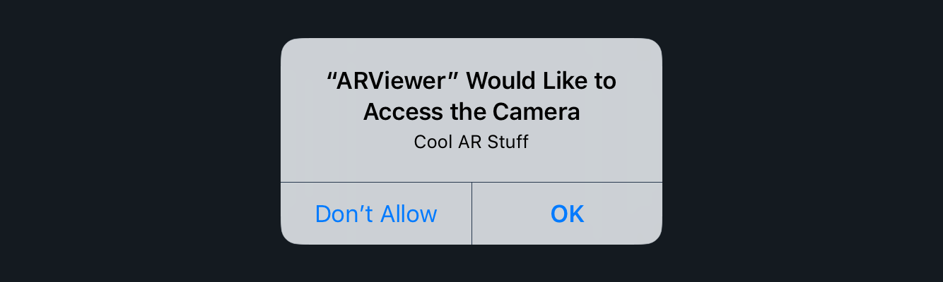 iPhone warning message arviewer would like to accede the camera cool ar stuff don't allow or OK
