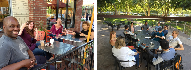 Left: one of our typical meetups at Buzz Coffee in Alexandria, VA. Right: one of our typical meetups in Silicon Valley, at the Computer history museum during Food Truck Friday.