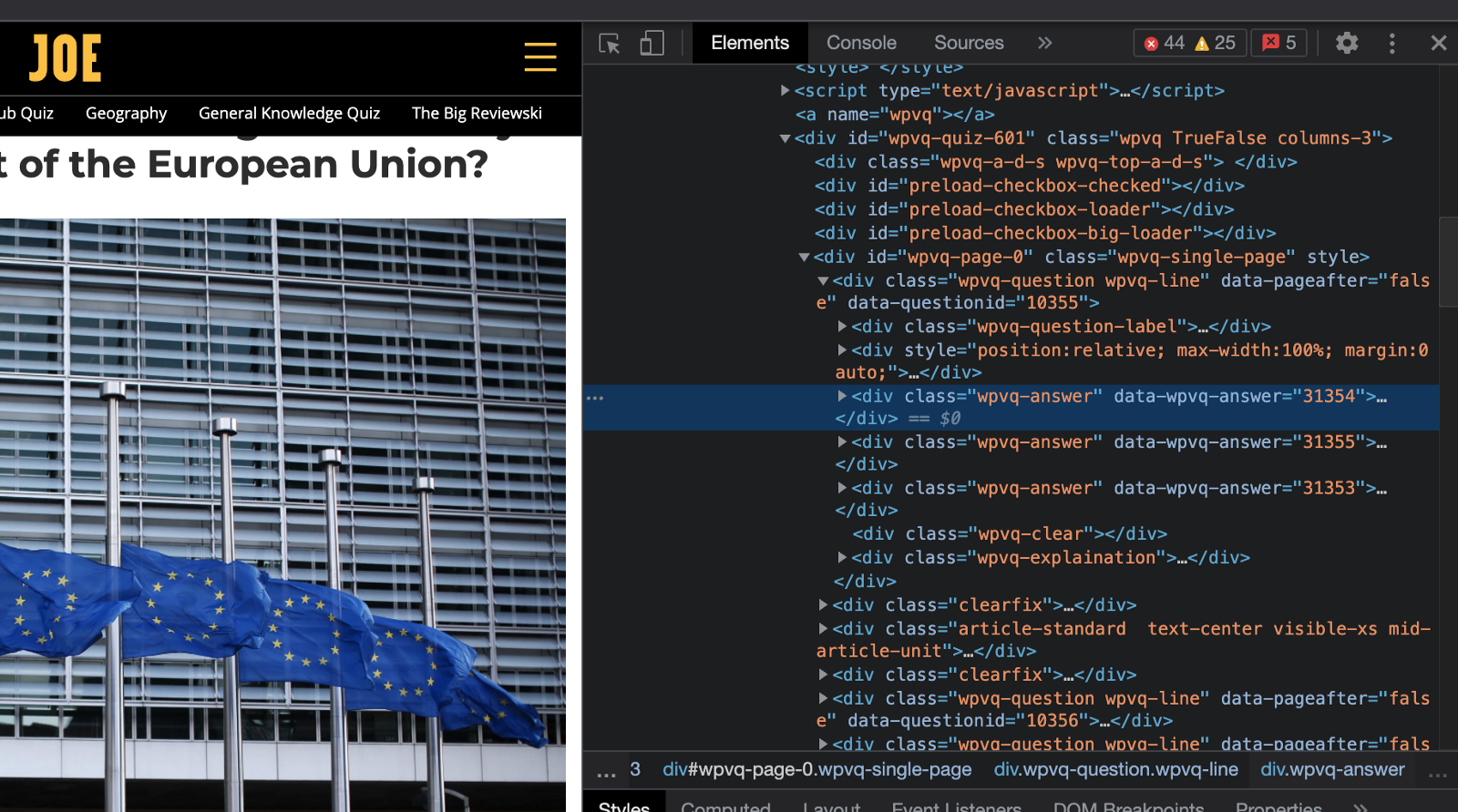 Using the inspector in Chrome to examine the HTML structure of the quiz   Analyzing Weekly Pub Quiz