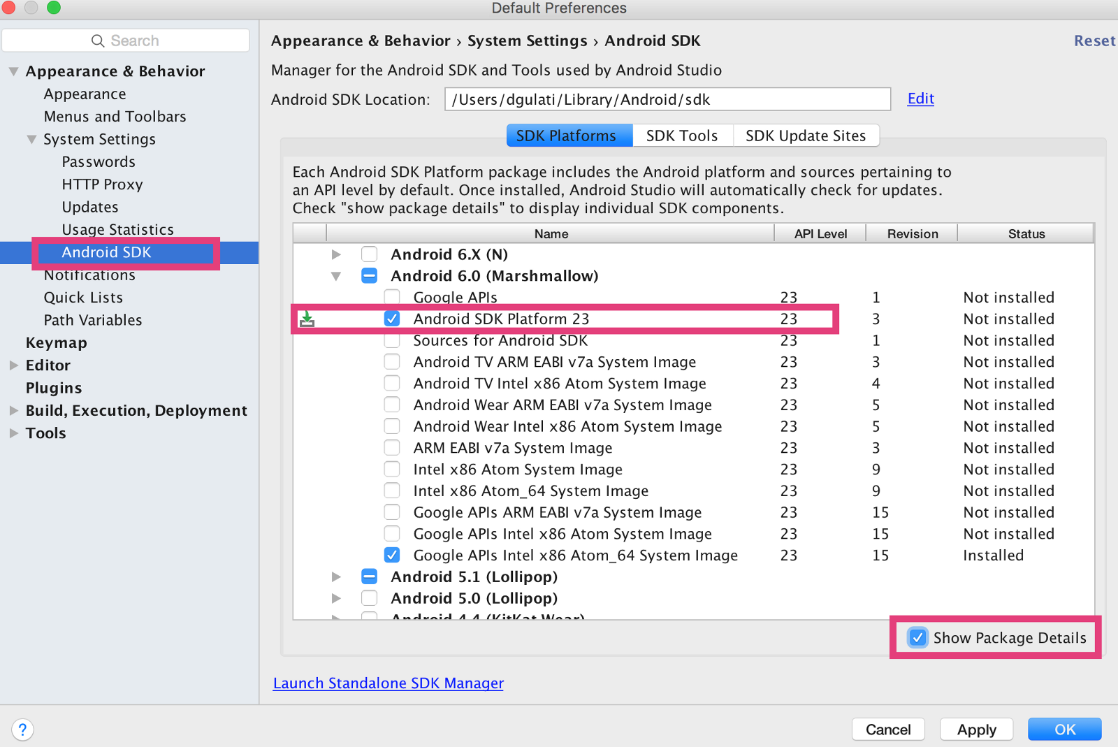 android studio sdk manager not working