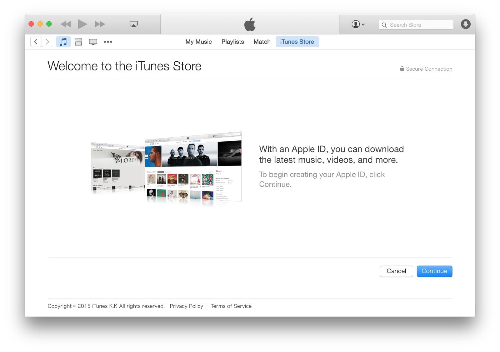 no card set in the itunes account