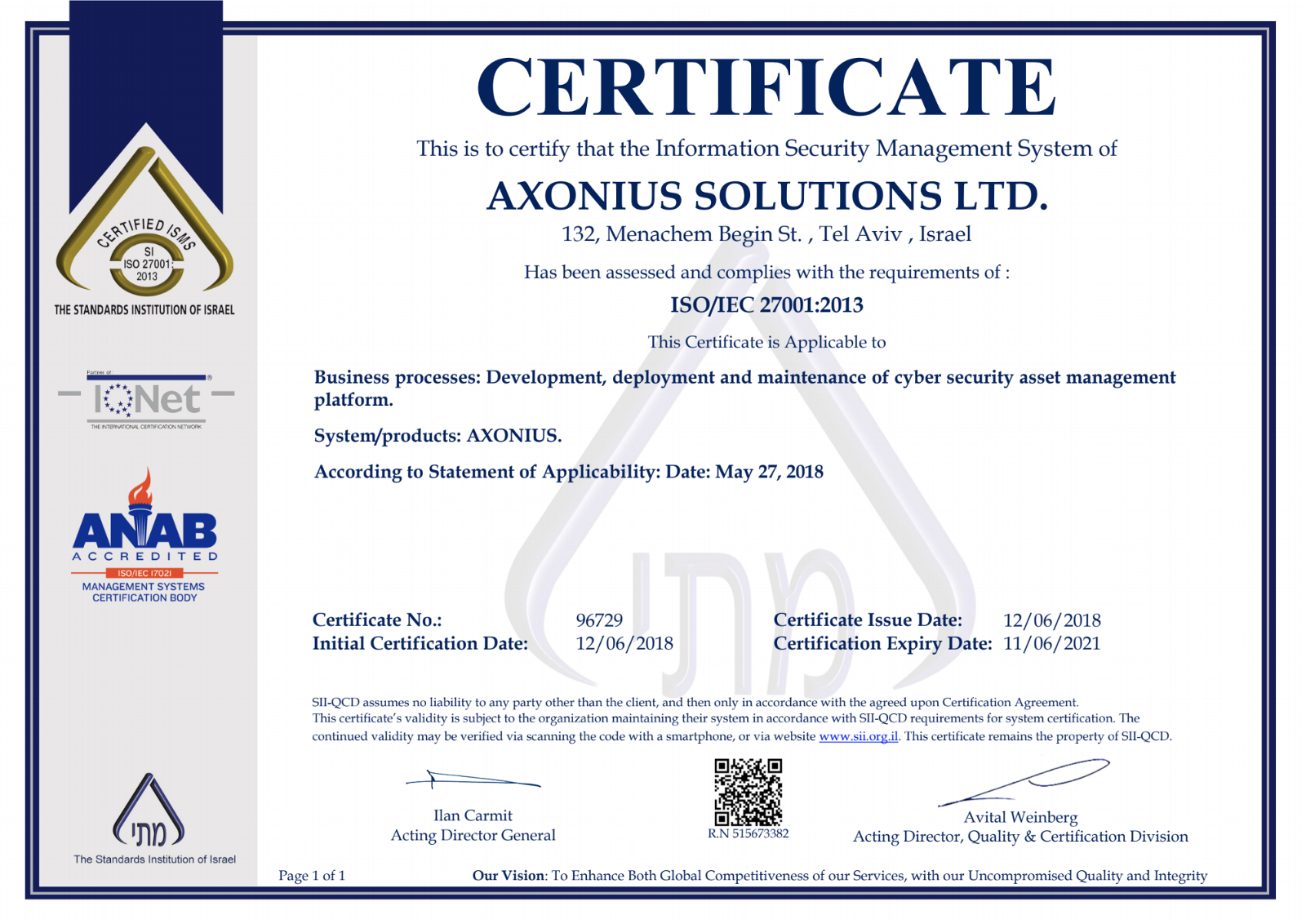 Eating Our Cybersecurity Dog Food Axonius Is Certified As Iso 27001