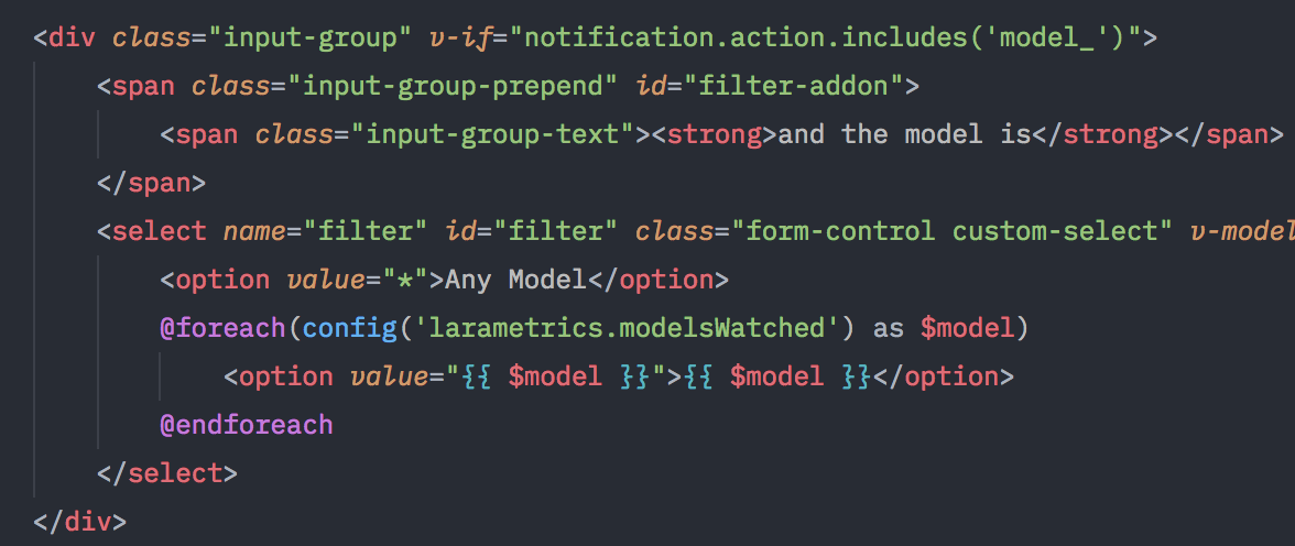 Code screenshot of Laravel Blade Snippets in action