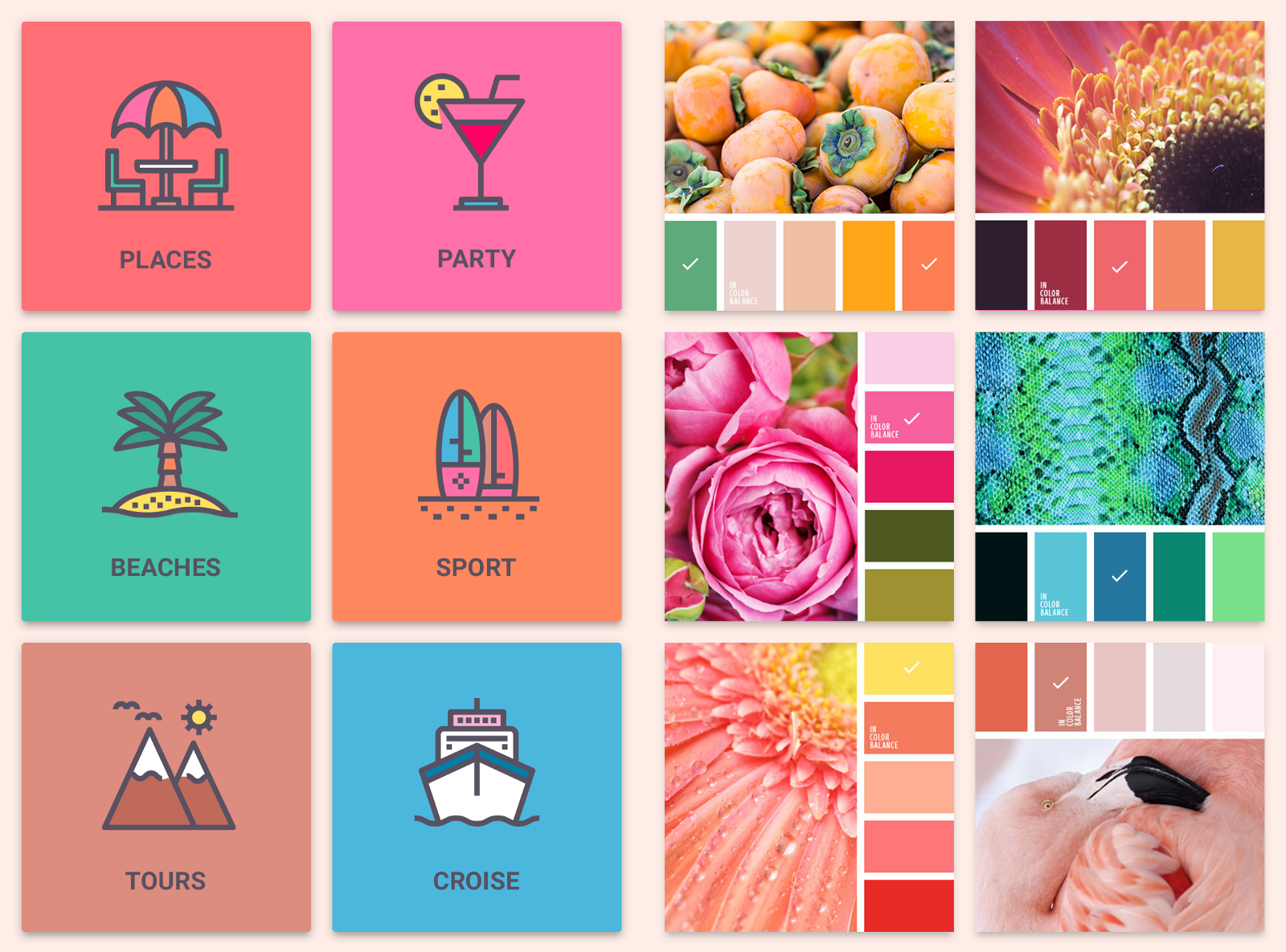 Natural color palettes for UI design – Design, Code and Prototyping